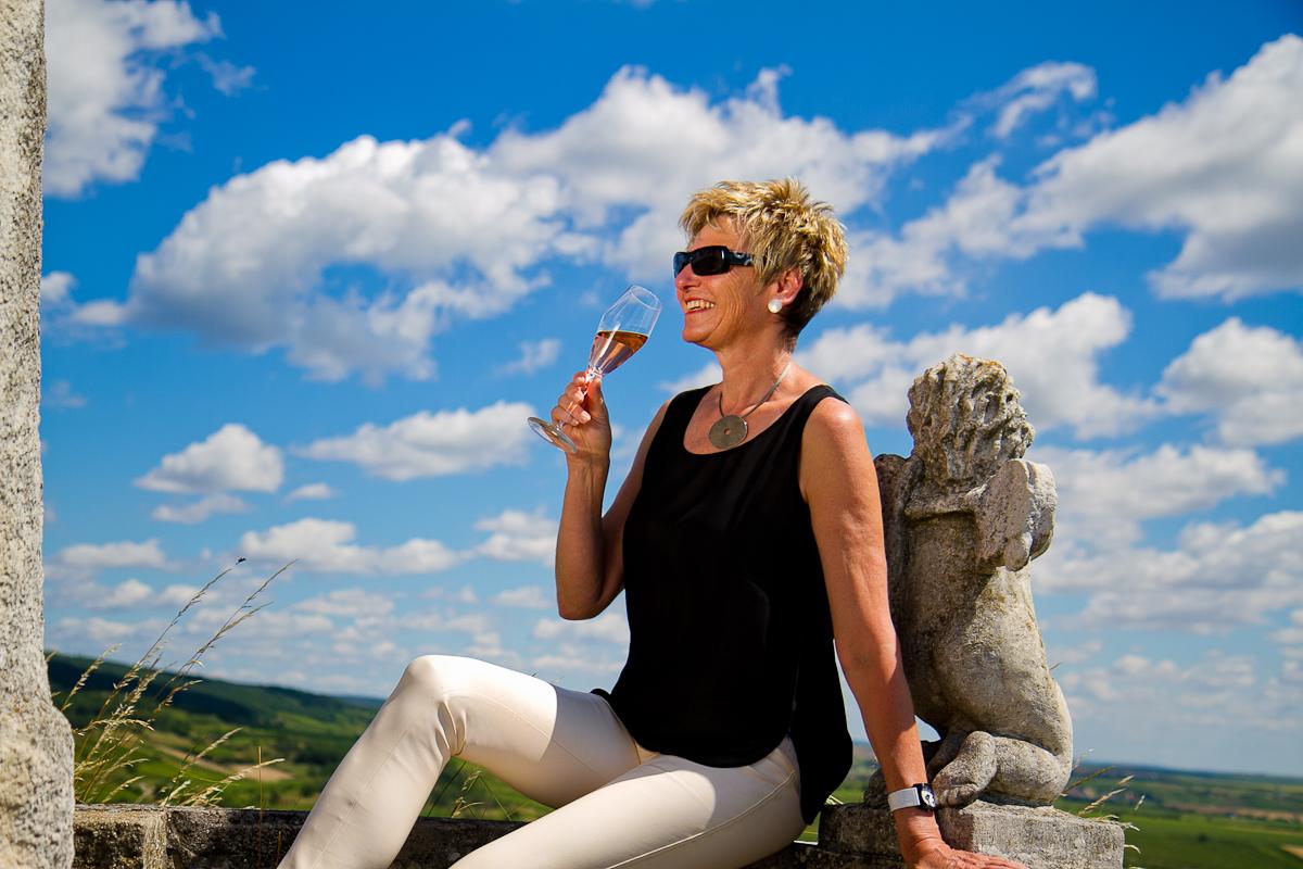 Christine Hacker in Arcanum VEGAN LEATHER PANTS - Weingut Diem Pia Maria, honest wines from honest people