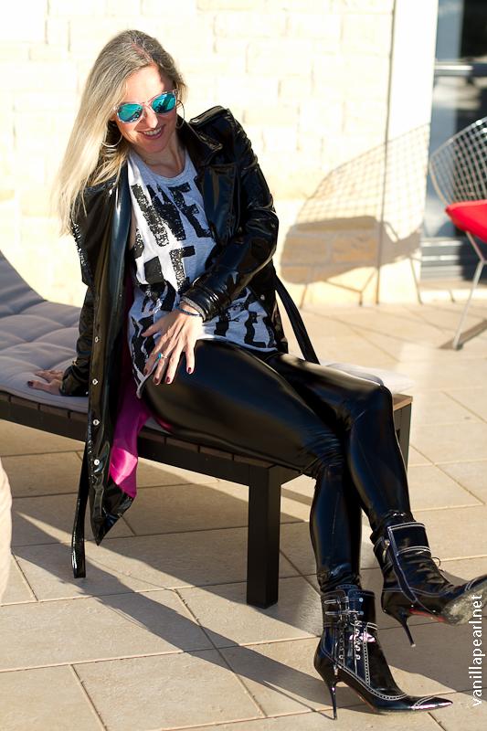 Christina black vinyl leggings and Vinyl coat in Croatia - made by Christina