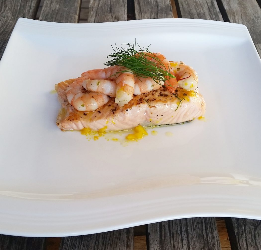 salmon with scampi made by Vanillapearl
