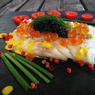 Fisch mit Safran und Kaviar