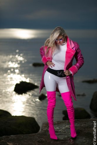 Christina with a pink winter coat from Arcanum in Porec