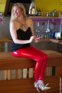 Christina with red vinyl leggings