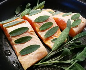 Salmon with sage made by Christina