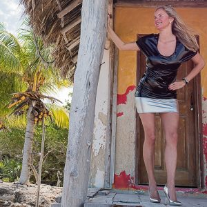 Christina with a silver vinyl skirt in Holbox