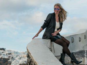 Christina with a black vinyl skirt from Arcanum in Santorini