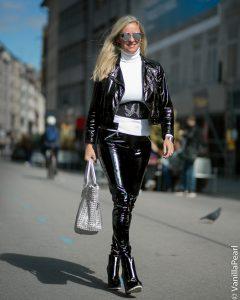 Christina Striewski Vanillapearl with black vinyl pants from Arcanum in Munich