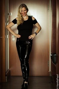 Christina with black vinyl pants from Arcanum