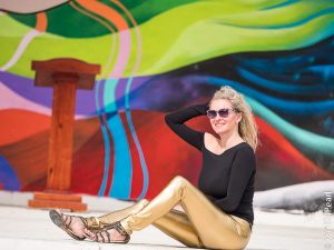 Christina with golden vinyl leggings from Arcanum