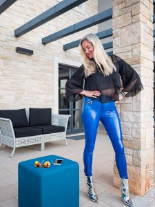 Christina with blue vinyl pants from Arcanum