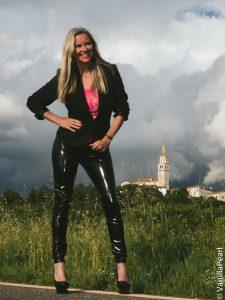 Christina with black vinyl pants in Porec Croatia