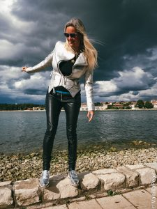 Christina with black leather pants in Porec