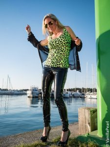 Christina with black vinyl pants from Arcanum