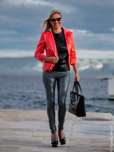 Christina with grey vinyl pants from Arcanum