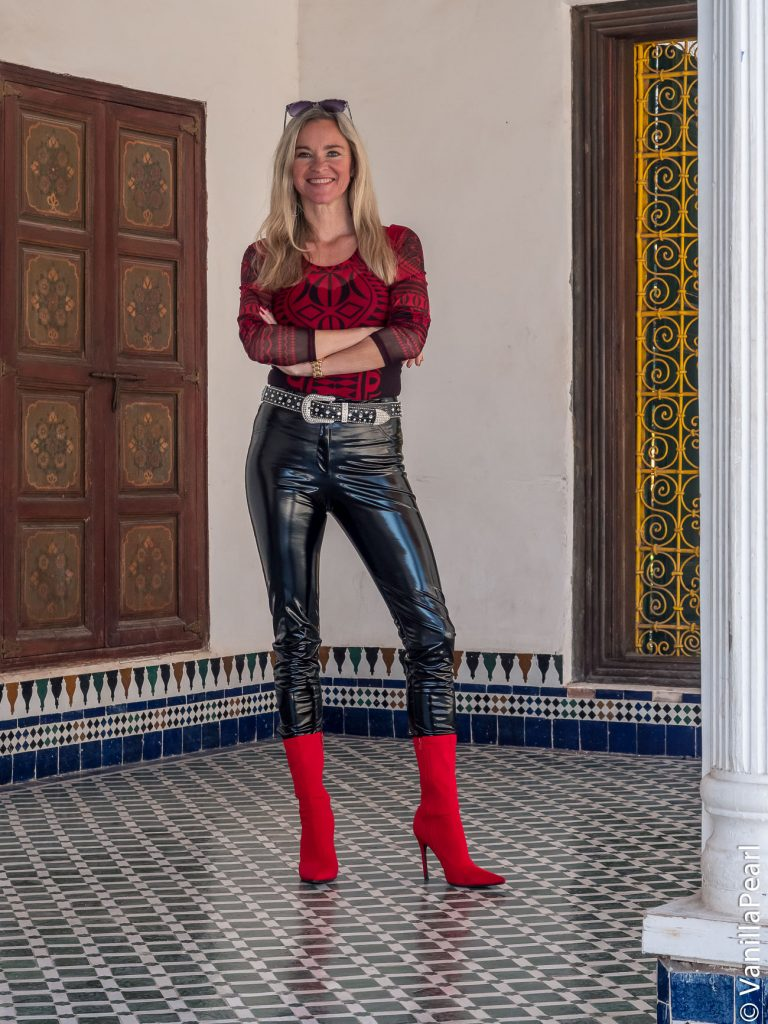 Christina Striewski Vanillapearl with black vinyl pants from Arcanum in Marrakesh Morocco