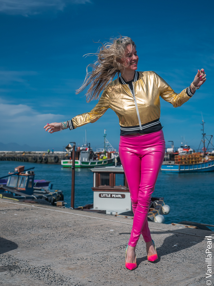 Christina Striewski with leather pants from Arcanum in Capetown